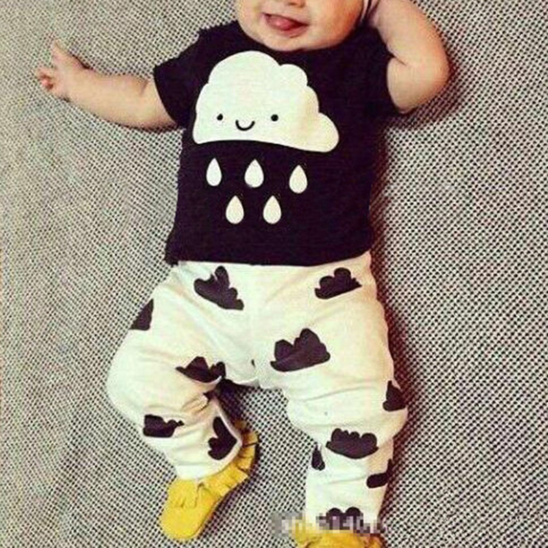 New Style Summer Baby Boys Girls Clothes T-shirt + Pants Cotton Suit Children Set Kids Clothing Bebe Next Infant Clothing 4558 spring 2016 new rabbit baby girls suits embroidered t shirt stripe pants 2pcs suit paragraph next brand quality infant cotton