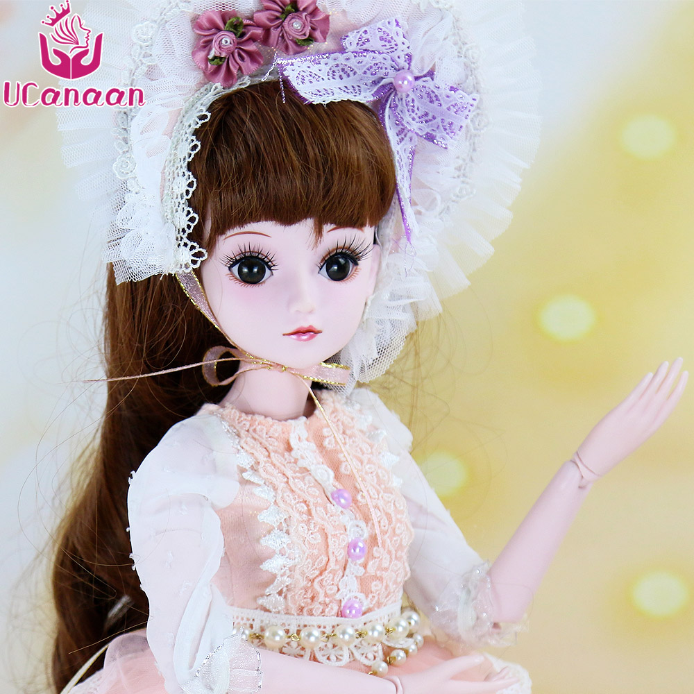 UCanaan 1/3 BJD Doll Fashion Style Lovely Bory Toys For Baby Girl New Arrival Toy With Outfit Shoes Wig Dress Makeup SD Dolls