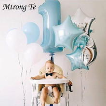 Baby shower 1st Birthday balloons set pink Blue Number Foil