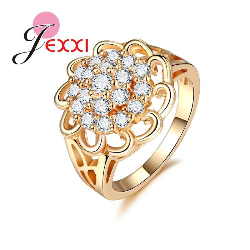 JEXXI Роскошные оптом свадебные кольца с камнями Кристалл Золото Цвет ювелирные изделия выдалбливают Обручение обещание кольцо для женщины