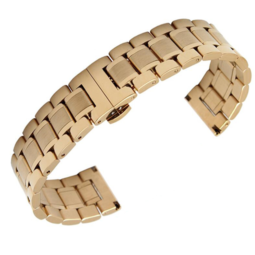 14 16 18 19 20 21 22 23 24mm Stainless Steel Watchband Bracelet Watch Band Strap Clocks Accessories Watchband Folding Clasp in Watchbands from Watches