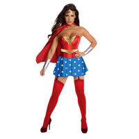 Adult Wonder Woman Costume Girl Cosplay Clothing Red Halloween Costume Superhero Dress With Cape