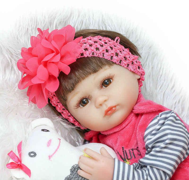 Npkcollection 40 cm silicone reborn bebê boneca crianças playmate presente para meninas vivo boneca brinquedos macios para bebes reborn brinquedos