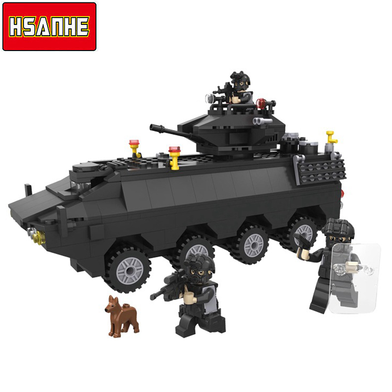 HSANHE Building Block Brick SWAT Car 3D Model SWAT With Gun Armored Tank Cars DIY Educational Toys Christmas Gifts Toys For Kids loz mini diamond block world famous architecture financial center swfc shangha china city nanoblock model brick educational toys