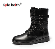 Kyle Keith Leather Men Boots Fashion Design Lace Up Men Ankle Boots Warm Plush Men Causal Shoes British Style Flat Men Boots