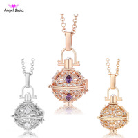 Pryme Long Necklace 20 5mm Lucky Chime Angel Bola Fragrance Pendant Jewelry For Women Metal Music