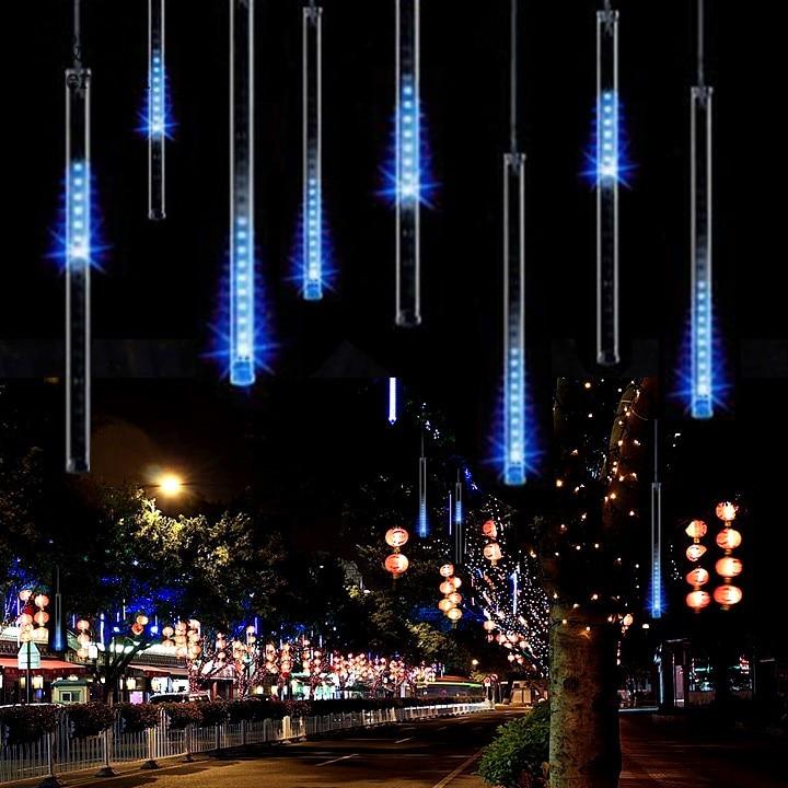 <font><b>Top</b></font> Selling 50CM Meteor Shower Rain Tubes LED String Light For Christmas Wedding <font><b>Party</b></font> Decoration 100-240V/US Blue #k