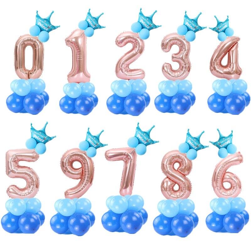 Globos hinchables con número de cumpleaños para niños y niñas, globos hinchables de papel de aluminio para fiesta de Boda de Princesa, 0, 1, 2, 3, 4, 5, 6, 7, 8 y 9