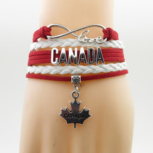 love canada country bracelet love my country canada Flag charm breacelet & bangles red bracelet for woman and man bracelet(China)