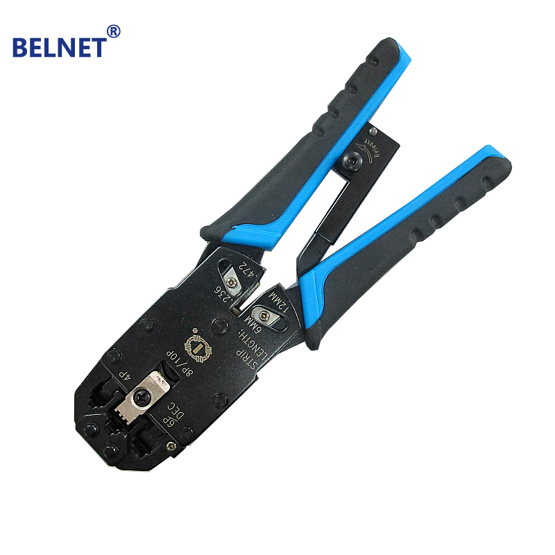 BELNET Multiple Modular Network Cable Crimping Tool plier Wire Cutter Stripping Kit RJ45 RJ12 RJ-11 8″ more in one modular tools