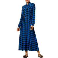 Women Maxi Dress Plaid Print Long Dresses Feminine long sleeve shirt dress muslim kaftan caftan fashion dress female