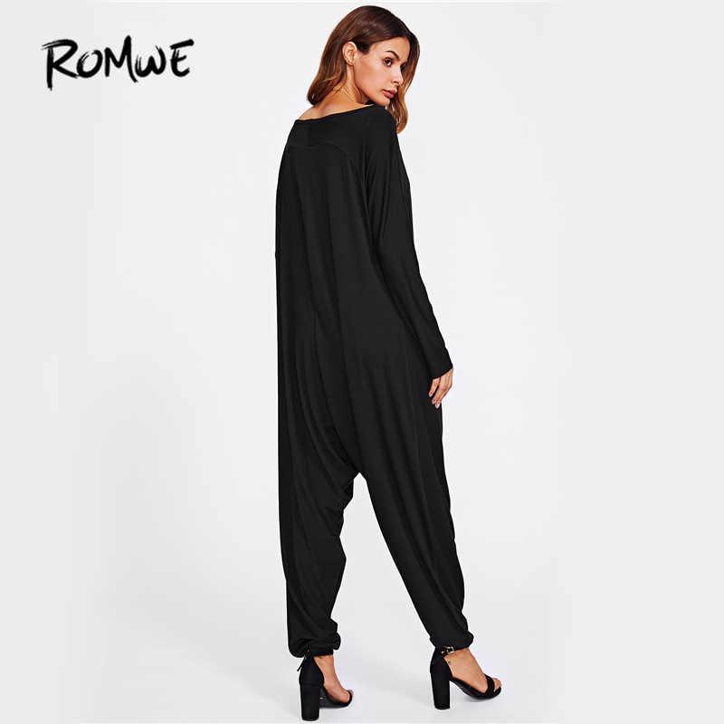 fb63fdf9e3 ... ROMWE Drop Crotch Jersey Jumpsuit Women Black Casual Loose Boat Neck  Basic Jumpsuit 2019 Autumn Long ...