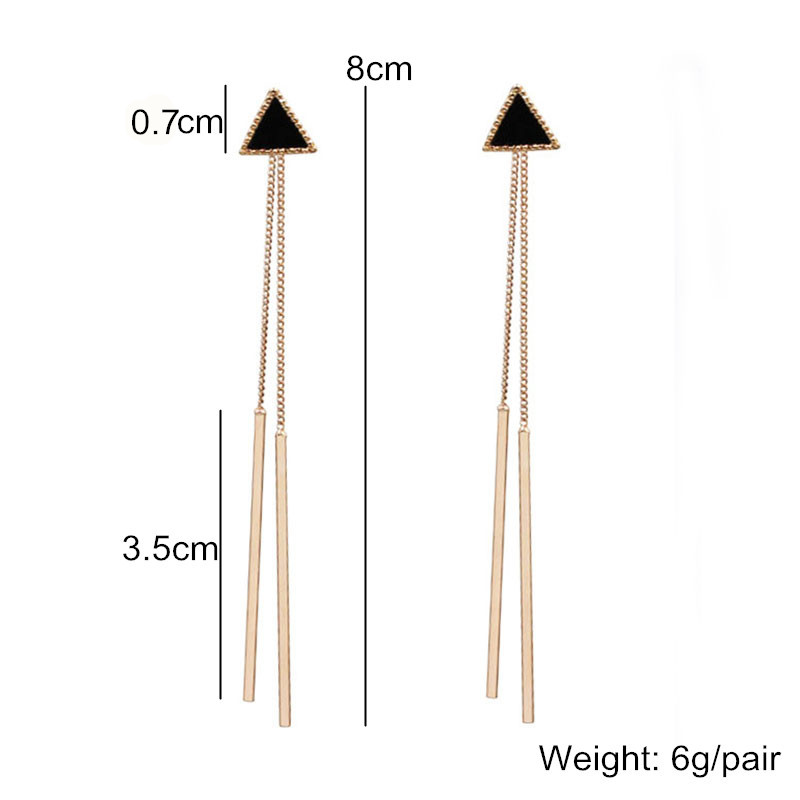 Korea Geometric Triangle Long Tassel Bar Drop Earrings For Women Minimalism Personality Ear Line Dangle Oorbellen Gift EB850