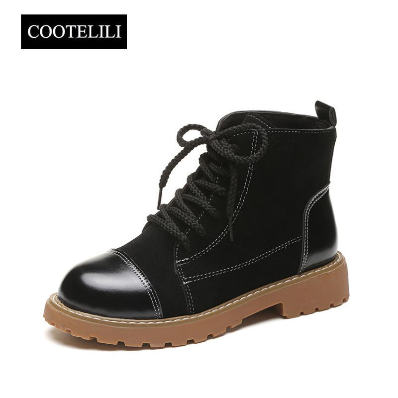COOTELILI Women Ankle Boots Heels Lace up Casual Shoes Woman Oxfords Tooling Boots Faux Suede Leather Botas Green Brown Black front lace up casual ankle boots autumn vintage brown new booties flat genuine leather suede shoes round toe fall female fashion