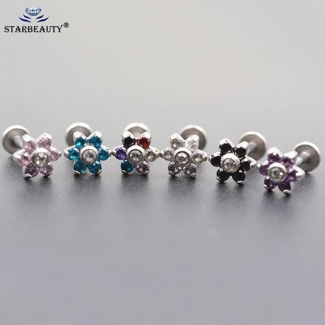 1.2*6/8mm Steel Internally Thread Opal Stone Ear Helix Tragus Barbell Piercing Opal Labret Stud Lip Rings Sexy Girls Jewelry
