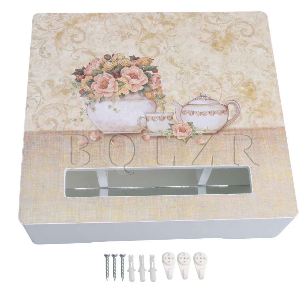 BQLZR Multicolor Wooden Flower Pattern Wall Mounted Set-top Hanging Storage Router Box Holder Hollow Decorative Block Shelf Hold недорго, оригинальная цена