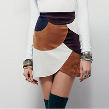 FFTAIQI fashion spring summer simple contrast color patchwork elegant woman skirt leisure arc asymmetrical hem slim women skirt