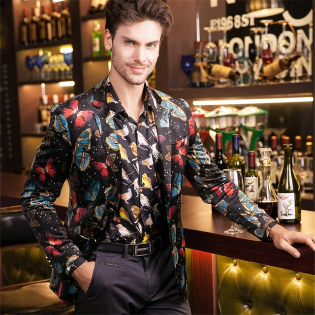 Mens Blazers New Arrivals 2016 Print Blazer For Men Butterfly Pattern British Style Suit Fashion Wedding Dress Prom Jacket Q203