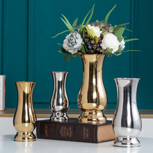 Chinese Style tabletop Vases Modern Minimalist Fashion Ornaments Crafts Decorative Stainless Steel Vase metal Flower Vases