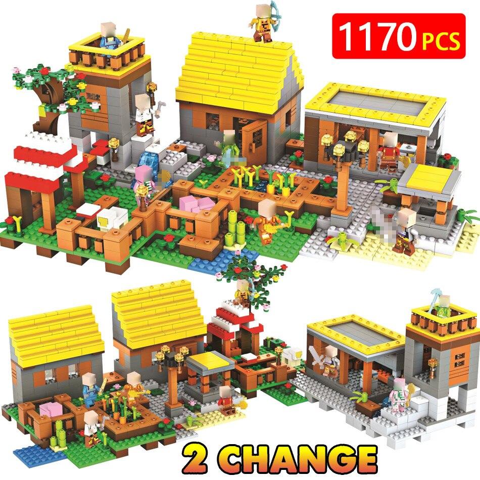 Técnica LegoINGLYs Minecrafted Ouro casa de Aldeia Cottage DIY Bricks Brinquedos Para Crianças Clássico Casa de Sonho Mini Figuras de Ação