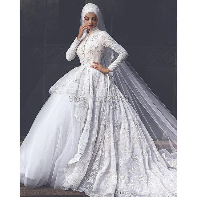 Vintage font b Hijab b font Lace Arabic Turkish Muslim Bridal Wedding Dress Ball Gown Asymmetric