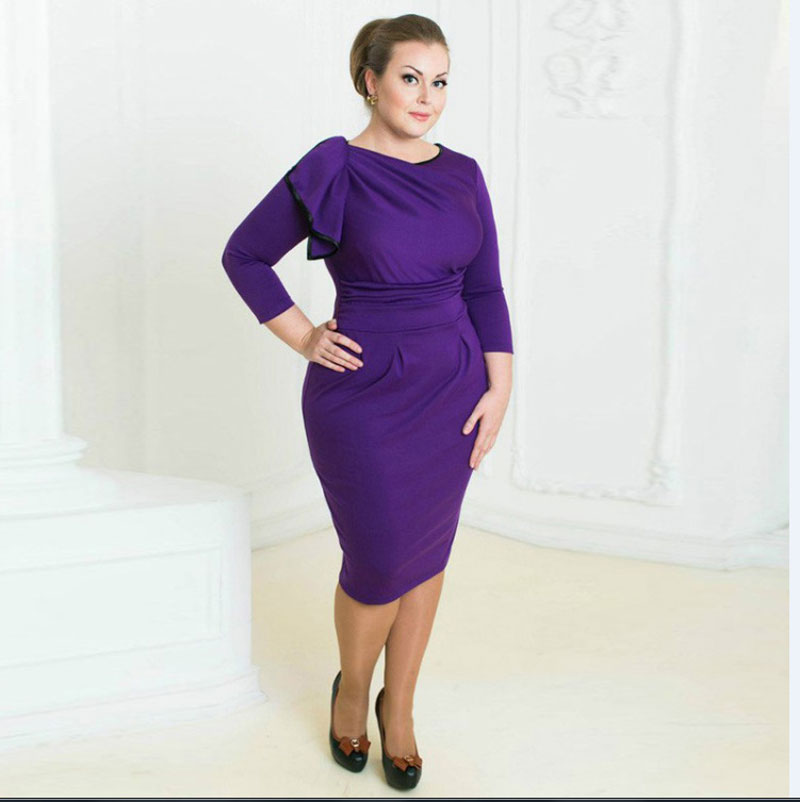 Big Size 6Xl 2016 Spring Fat Mm Woman Sexy Dress Bodycon Purple Dresses Plus Size -6700