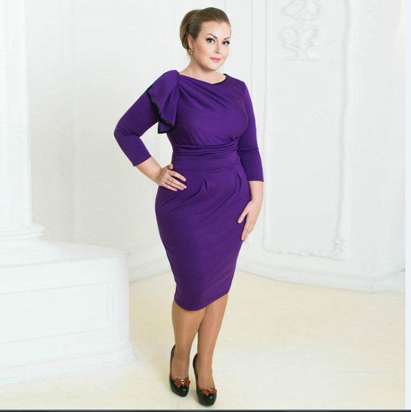 Magnífico Vestidos De Dama De Color Púrpura De Talla Grande Friso ...