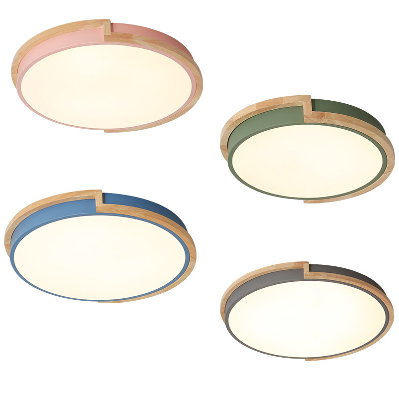 Modern brief round ceiling lamps metal with rubber wood acrylic shade material colorful ceiling lights LED ceiling mounted lamp Modern brief round ceiling lamps metal with rubber wood acrylic shade material colorful ceiling lights LED ceiling mounted lamp