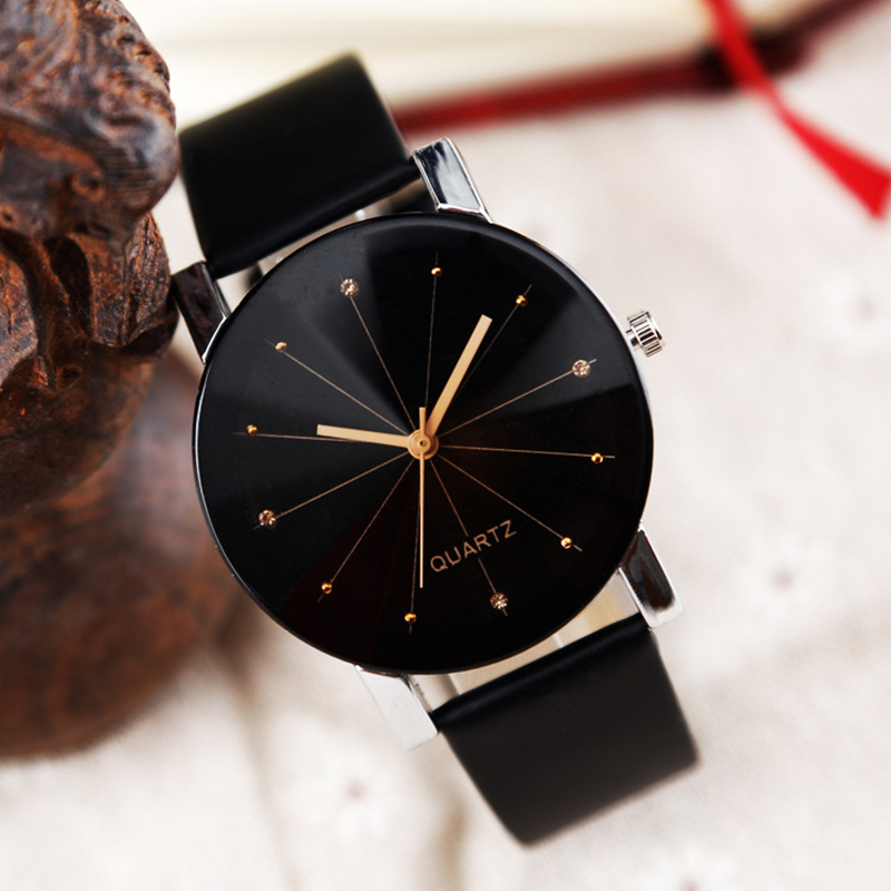 Lovers' Quartz Watch Women Men Fashion Leather Dress Watch Luxury Brand Crystals Business Couple Wristwatch Hours Clock