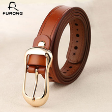 FURONG Vintage Women Belt Real Cow Leather Hollow Out Design Waist With Pin Buckle 105-115cm Full-grain Fine