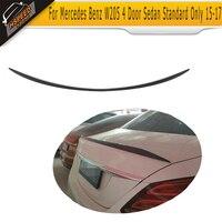 For W205 Rear Trunk Lip Spoiler Wing For Mercedes Benz C Class C180 C200 C250 C63 AMG 4 Door 2015 2019 Carbon Fiber / PU Black