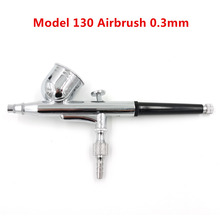 Model 130 New 0.3mm Air Brush Mini Paint Spray Gun Dual Action Airbrush Kit 7CC Cup Cake Decorating Paint Tool