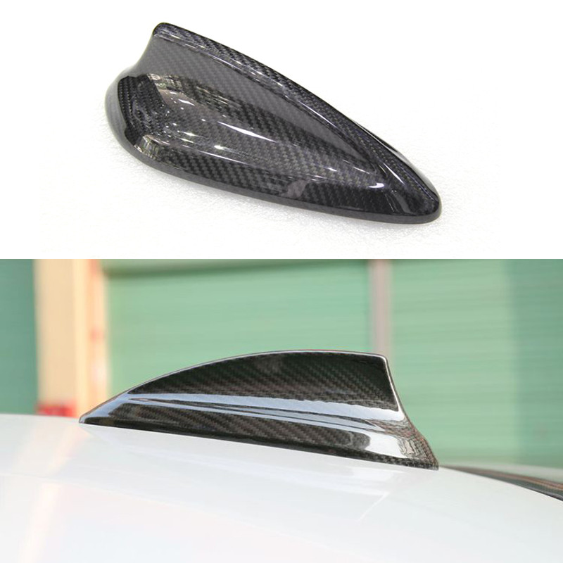 Genuine Carbon Fiber Car Roof Shark Fin Antenna Cover Trim Shark Fin Aerial with Adhesive Tabe for BMW Series 3 E90 E91 E92 E93 E92 M3