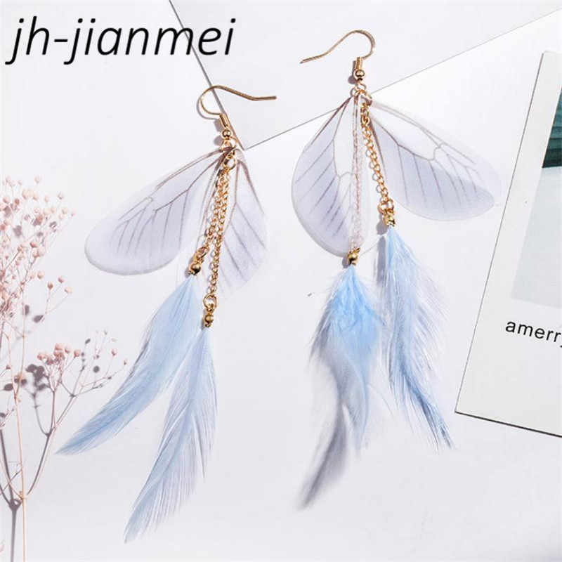 2018 New Ladies Bohemian Long Tassel Earrings Wild Wings Feather Cold Wind Earrings