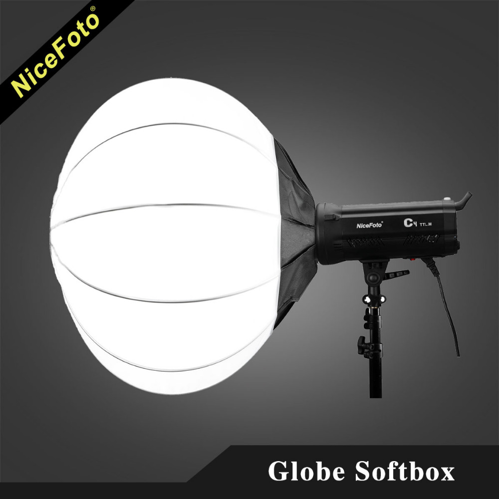 NiceFoto 50/65/80 cm Collapsible Sphere Softbox Paper Lantern Ball Shape Globe Diffuser w/ Bowens Mount for Studio Flash Strobe