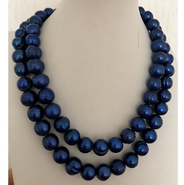 2 brins 11-12mm collier de perles de tahiti baroque noir bleu 18