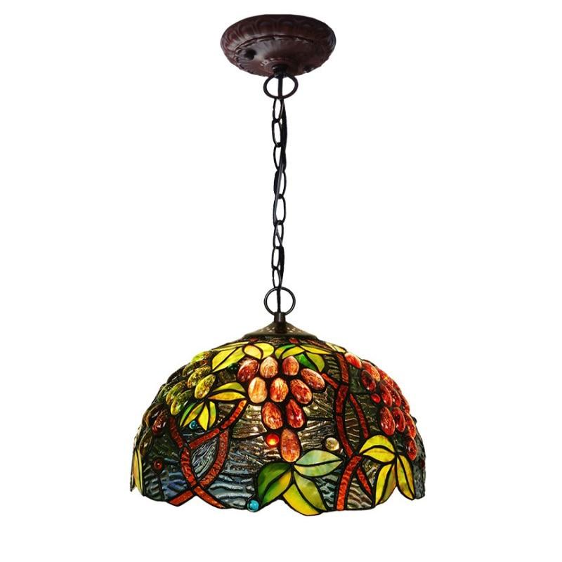 Nordic Vintage Stained Glass Tiffanylamp,European Rustic Garden Green Leaf Rattan Hang Pendant Lamp Light Dining Room Lighting