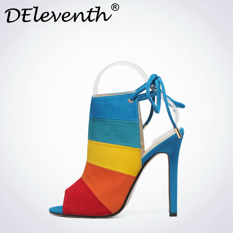 2016 New Fashion Lace-up Women Peep Toe High Heels Rainbow Shoes Woman Sexy Sandals Slingbacks Mix-color Red Brown Zapatos Mujer  new fashion women plus size 34 42 peep toe slingbacks cross straps narrow band sandals sexy high heels gladiator women shoes