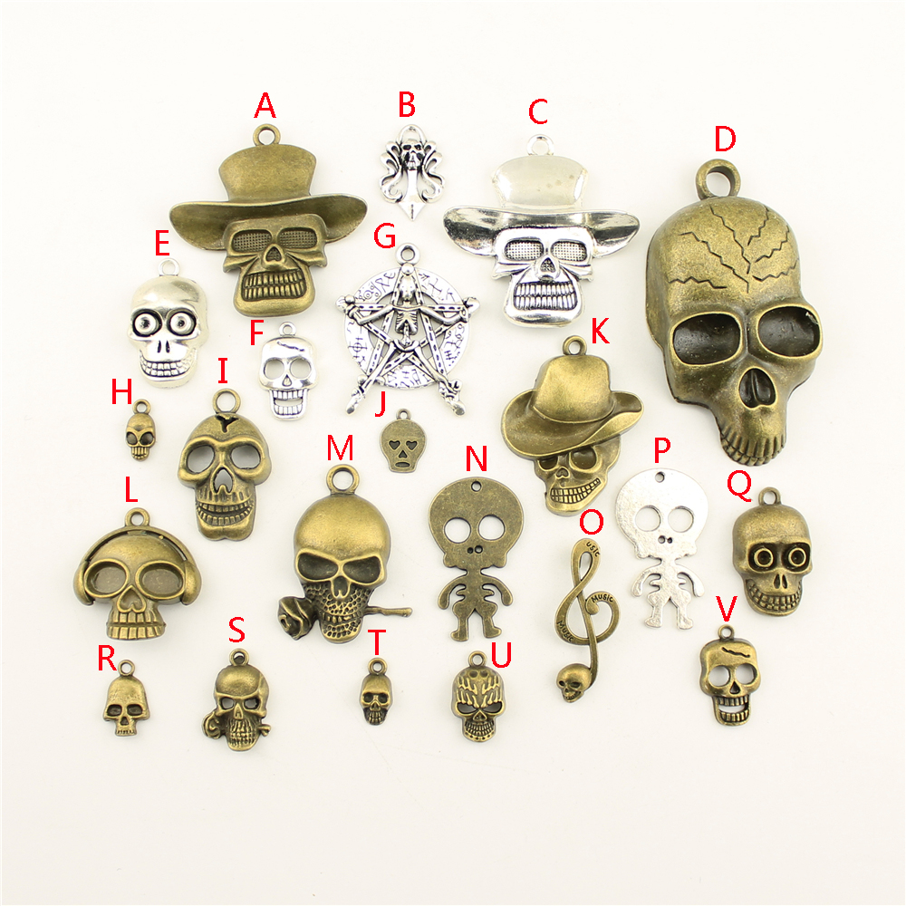 20Pcs Wholesale Bulk Accessories Parts Skull Mix Pendant Fashion Jewelry Making HK114 in Charms from Jewelry Accessories