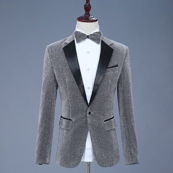 Men Suit Blazers 2019 Mens Bright Silk Show Stage Long Sleeve Bow Ties Singles Breasted Suits Blazer