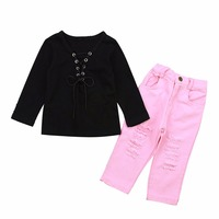Baby Girl Clothes set Autumn kid Clothing lace up black long sleeve T Shirt Denim pink Jeans Pants Kids outfit Suit