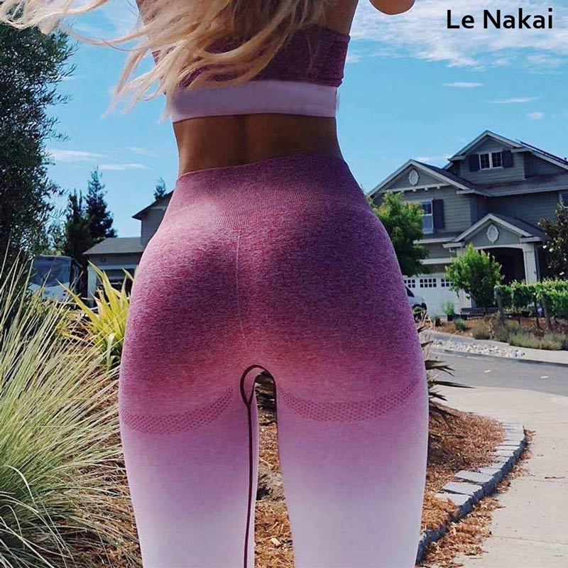 e5a24d0b8052f High waist pink yoga pants energy ombre seamless leggings tummy control workout  gym leggings scrunch butt fitness sport leggings-in Yoga Pants from Sports  ...