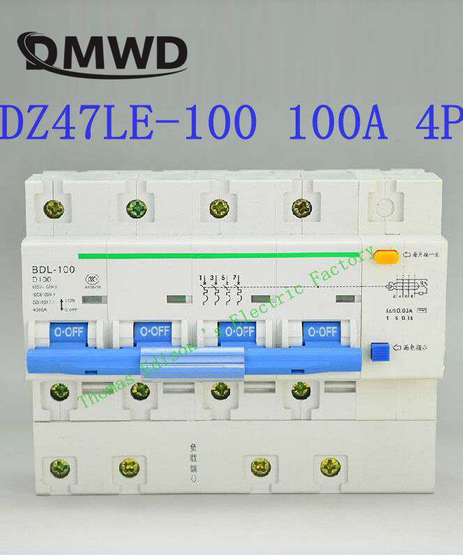 DZ47LE-100 4P 63A 80A 100A 400V~ 50HZ/60HZ Residual Current Circuit Breaker With Over Current And Leakage Protection RCBO dz47le 3p n 63a 400v 50hz 60hz residual current circuit breaker with over current and leakage protection rcbo