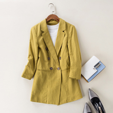 fenimino work jacket bomber elegant women's Slim suits Blazer Long Double-breasted casual linen casual suit blazer jacket female