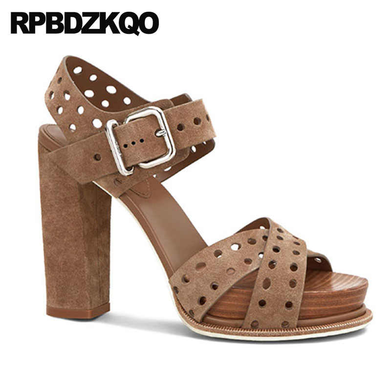 d001c80ebeb Strappy Chunky Pumps Open Toe Shoes Platform Women Two Strap Sandals  Slingback Fashion Genuine Leather High Heels Thick Brown
