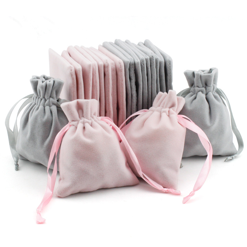 5pcs/lot Pink/Gray Color Velvet Drawstring Bags 10x8cm Wedding Partty Candy Gift Bags Jewelry Storage Packaging Bags Supplier
