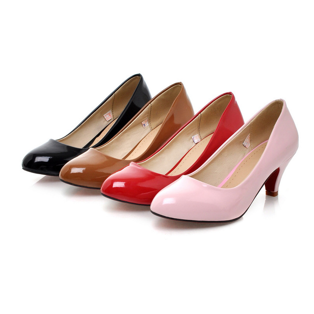 New Trendy Fashion Shiny PU Leather Med Kitten Heel Women's Pumps ...