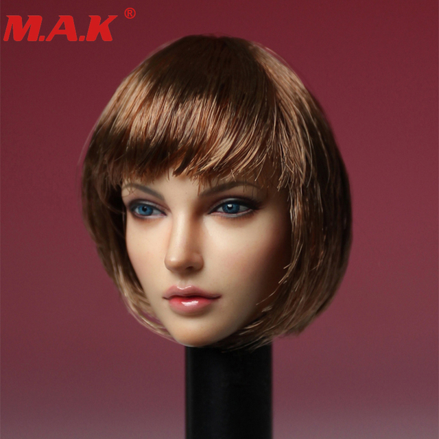 1/6 scale female girl woman young lady head sculpt model short hair European beauty headplay carving model for 12' action figure