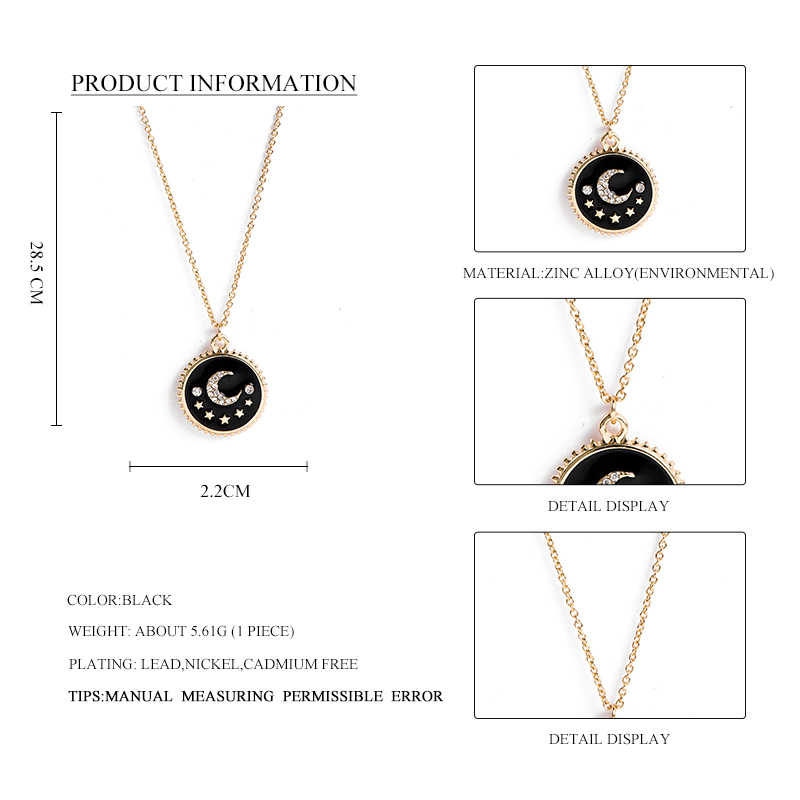 Sauvage & gratuit femmes cristal émail rond pendentif collier bijoux longue chaîne en or collier avec lune & étoile mode Choker Pendiants