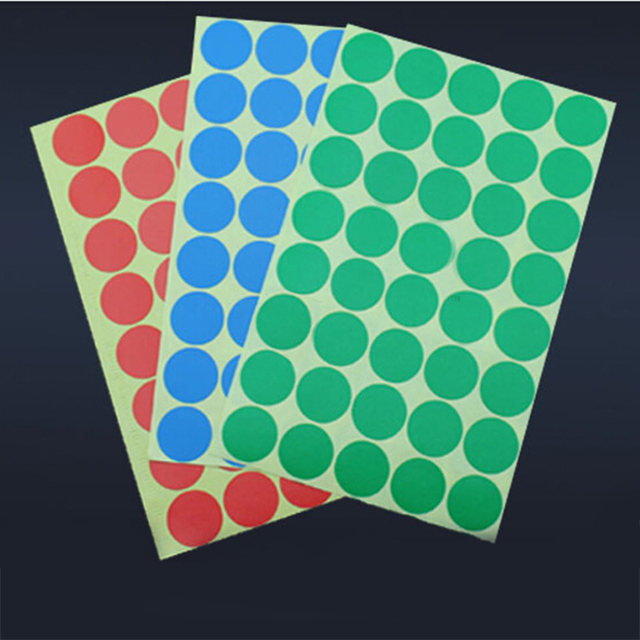 10 Colors A Sheet Diameter 25 mm Round Dot Adhesive Sticker Glass ...